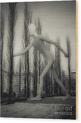 The Walking Man - Bw Wood Print by Hannes Cmarits