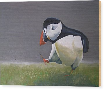 The Walking Puffin Wood Print
