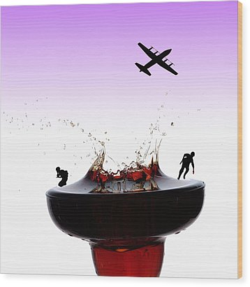 The War On A Cocktail Cup Little People On Food Wood Print by Paul Ge