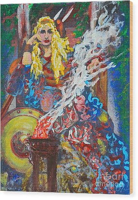 The Warrior Queen Wood Print by Alys Caviness-Gober