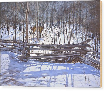 The Watcher In The Wood Wood Print by Richard De Wolfe