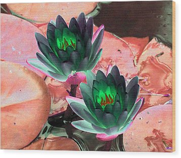 Wood Print featuring the photograph The Water Lilies Collection - Photopower 1120 by Pamela Critchlow