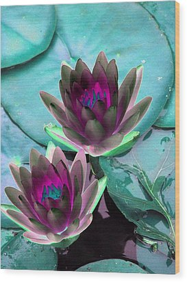 Wood Print featuring the photograph The Water Lilies Collection - Photopower 1124 by Pamela Critchlow
