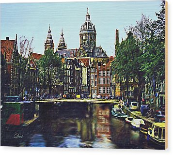 The Water Way Amsterdam Wood Print by Dmt