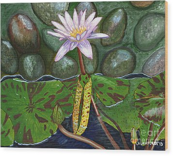 Wood Print featuring the painting The Waterlily by Laura Forde