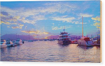The Waters Are Calm Painting  Wood Print by Jon Neidert