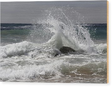 The Wave And The Rock Wood Print by Jennifer Kathleen Phillips