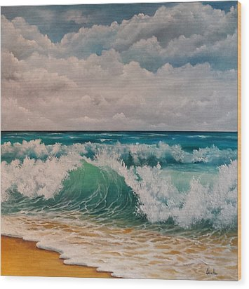 The Wave Wood Print by Katia Aho