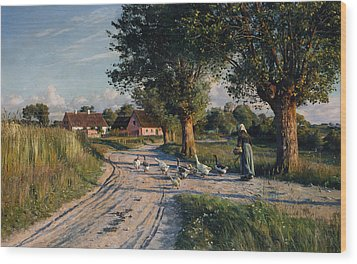 The Way Home Wood Print by Peder Monsted
