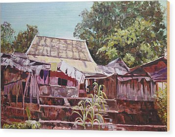Wood Print featuring the painting The Way It Was by Belinda Low