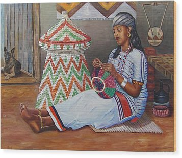 The Weaving Lady Wood Print