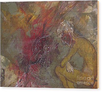 Wood Print featuring the mixed media The Web's Of Mind by Delona Seserman