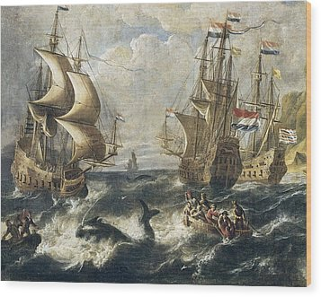 The Whale Fishing. Oil On Canvas Wood Print by Everett