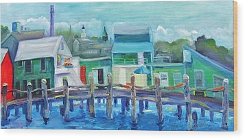 The Wharf In August Wood Print by Maria Milazzo