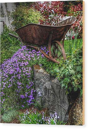 Wood Print featuring the photograph The Whimsical Wheelbarrow by Thom Zehrfeld