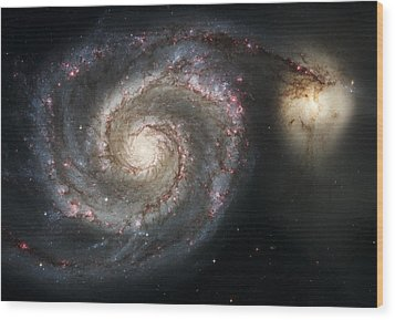 The Whirlpool Galaxy M51 And Companion Wood Print by Adam Romanowicz