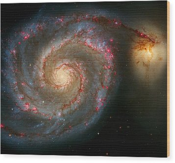The Whirlpool Galaxy M51 And Companion Wood Print by Don Hammond