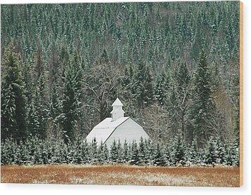 The White Barn Wood Print by Annie Pflueger