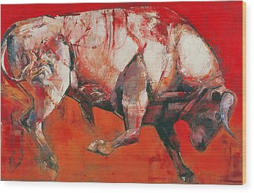 The White Bull Wood Print