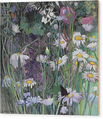 The White Garden Wood Print by Claire Spencer