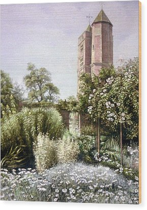 Wood Print featuring the painting The White Garden by Rosemary Colyer