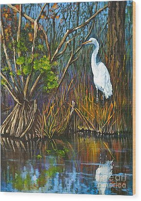 The White Heron Wood Print by Dianne Parks