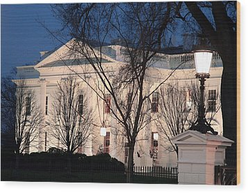 Wood Print featuring the photograph The White House At Dusk by Cora Wandel