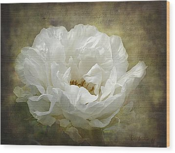 The White Peony Wood Print by Barbara Orenya