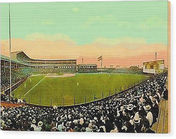 The White Sox Southside Baseball Park In Chicago Il In 1913 Wood Print by Dwight Goss