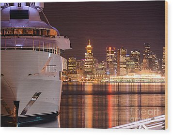The White Yacht Wood Print