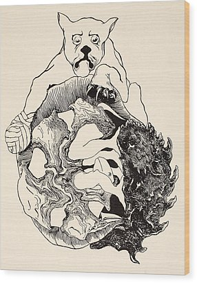 The Whole Story Of The Jaguar And The Hedgehog And The Tortoise And The Armadillo All In A Heap Wood Print by Joseph Rudyard Kipling