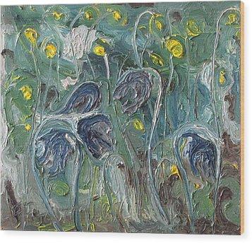 The Wild Purple Flowers Wood Print by Francois Fournier