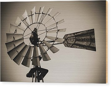 Wood Print featuring the photograph The Windmill by Amber Kresge