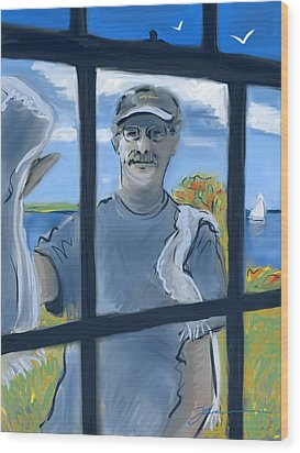 The Window Washer Wood Print