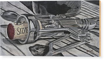 The Wine Master's Touch Wood Print by Brien Cole