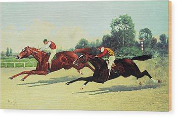 The Winning Post In Sight Wood Print by Henry Stull