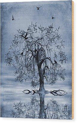 The Wishing Tree Cyanotype Wood Print by John Edwards