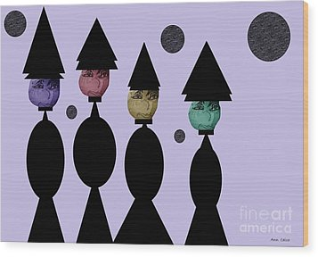 The Witch Club Wood Print by Ann Calvo