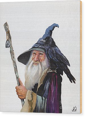 The Wizard And The Raven Wood Print by J W Baker