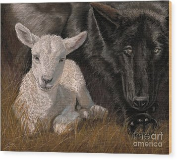 Wood Print featuring the painting The Wolf And The Lamb by Sheri Gordon