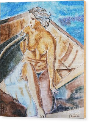 The Woman Rower Wood Print by Jasna Dragun