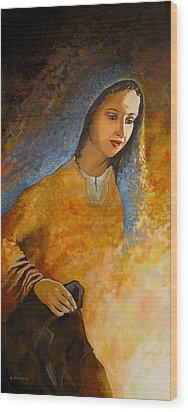 The Wonderment Of Mary - Virgin Mary Madonna Mother Of Jesus Christ Child Wood Print by Carla Holiday
