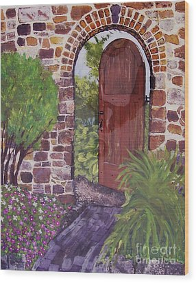 Wood Print featuring the painting The Wooden Door by Lucia Grilletto