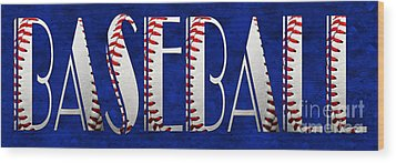 The Word Is Baseball On Blue Wood Print by Andee Design