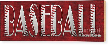 The Word Is Baseball On Red Wood Print by Andee Design