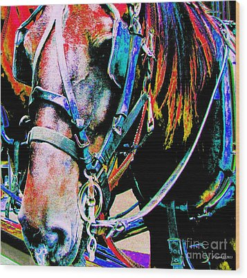 The Working Horse Wood Print by Annie Zeno