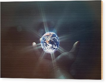 The World In The Palm Of Your Hand Wood Print