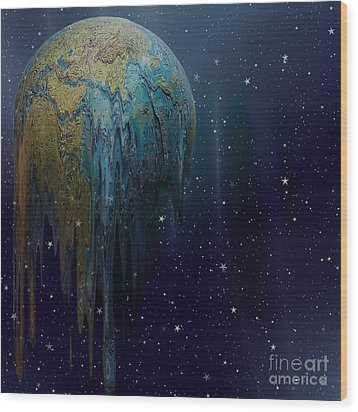 The World Is Melting Wood Print by Liane Wright