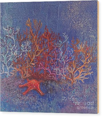 Wood Print featuring the painting The World Of Coral by Delona Seserman