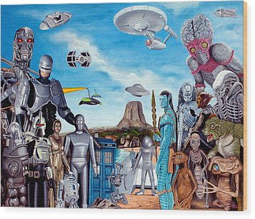 The World Of Sci Fi Wood Print by Tony Banos